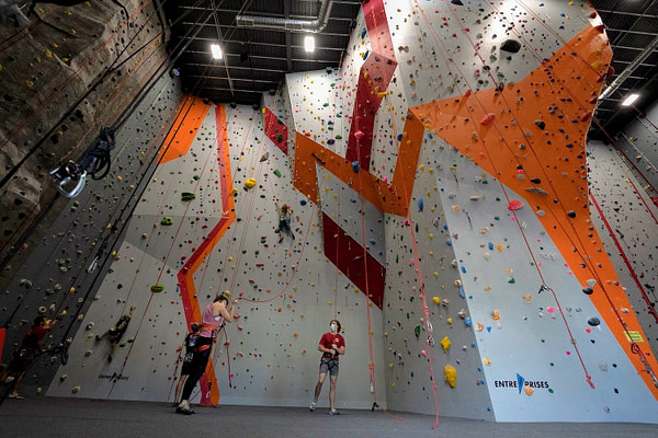 climbers enjoying the new rock gym in Boise, ID.